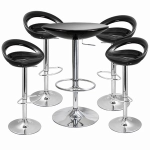 Crescent Bar Stool and Podium Table Set Black (Black Table + Stools)