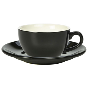 Royal Genware Black Bowl Shaped Cup and Black Saucer 8.8oz / 250ml (Pack of 6)