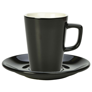 Royal Genware Black Latte Mug and Black Saucer 12oz / 340ml (Pack of 6)